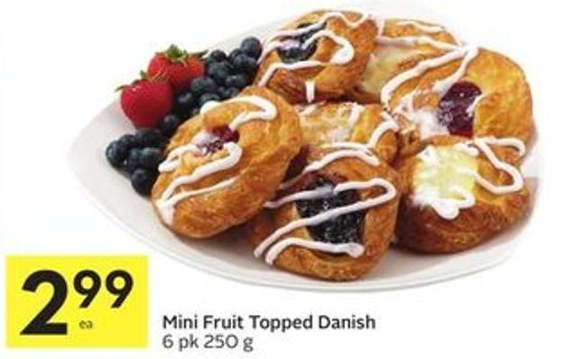 Mini Fruit Topped Danish 6 Pk 250 g