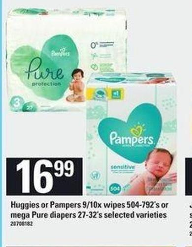 Huggies Or Pampers - 9/10x Wipes - 504-792's or Mega Pure Diapers - 27-32's