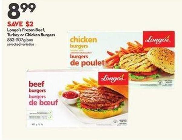 Longo's Frozen Beef - Turkey or Chicken Burgers