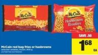 Mccain Red Bag Fries Or Hasbrowns - 900 G
