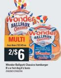 Wonder Ballpark Classics Hamburger 8's Or Hot Dog 6's Buns