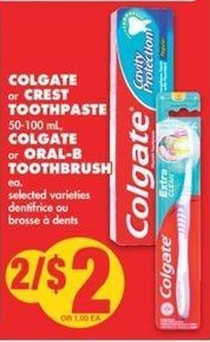 Colgate Or Crest Toothpaste 50-100 Ml - Colgate Or Oral-b Toothbrush