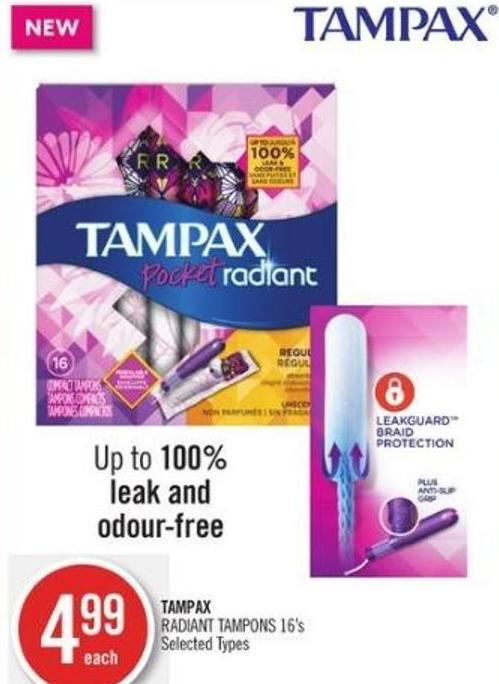 Tampax Radiant Tampons 16's