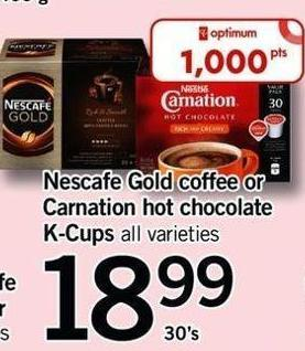 Nescafe Gold Coffee Or 500 Carnation Hot Chocolate K-cups - 30's