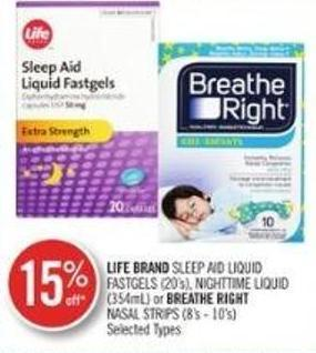Life Brand Sleep Aid Liquid Fastgels (20's) - Nighttime Liquid (354ml) or Breathe Right Nasal Strips (8's - 10's)