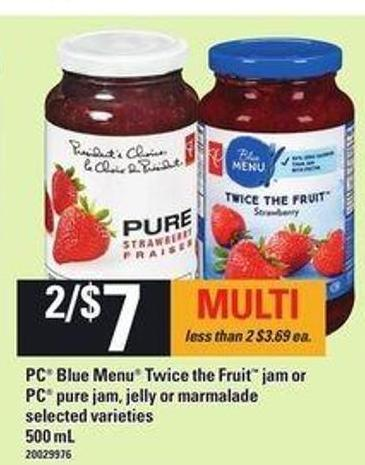 PC Blue Menu Twice The Fruit Jam Or PC Pure Jam - Jelly Or Marmalade - 500 mL