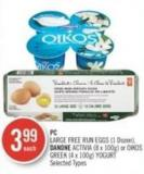 PC Large Free-run Eggs (1 Dozen) - Danone Activia (8 X 100g) or Oikos Greek (4 X 100g) Yogurt