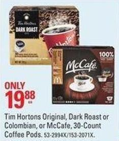 Tim Hortons Original - Dark Roast or Colombian or Mccafé 30-count Coffee Pods