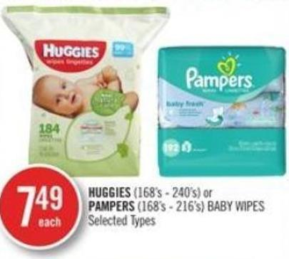 Huggies (168's - 240's) or Pampers (168's - 216's) Baby Wipes