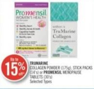 Trumarine Collagen Powder (175g) - Stick Packs (14's) Or Promensil Menopause Tablets (30's)
