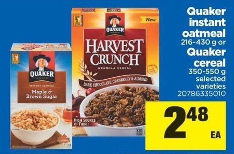 Quaker Instant Oatmeal - 216-430 G Or Quaker Cereal - 350-550 G