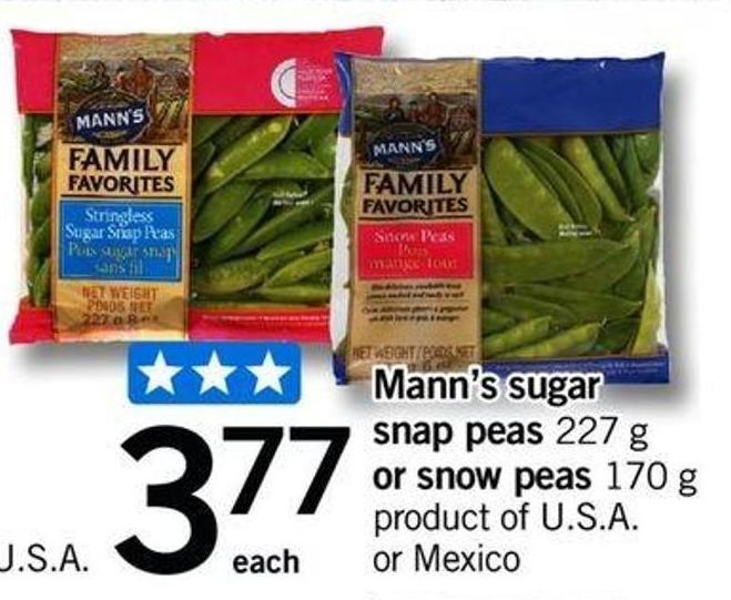 Mann's Sugar Snap Peas - 227 G Or Snow Peas - 170 G