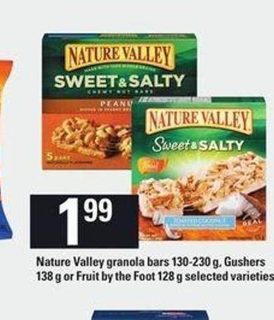 Nature Valley Granola Bars 130-230 G - Gushers 138 G Or Fruit By The Foot 128 G