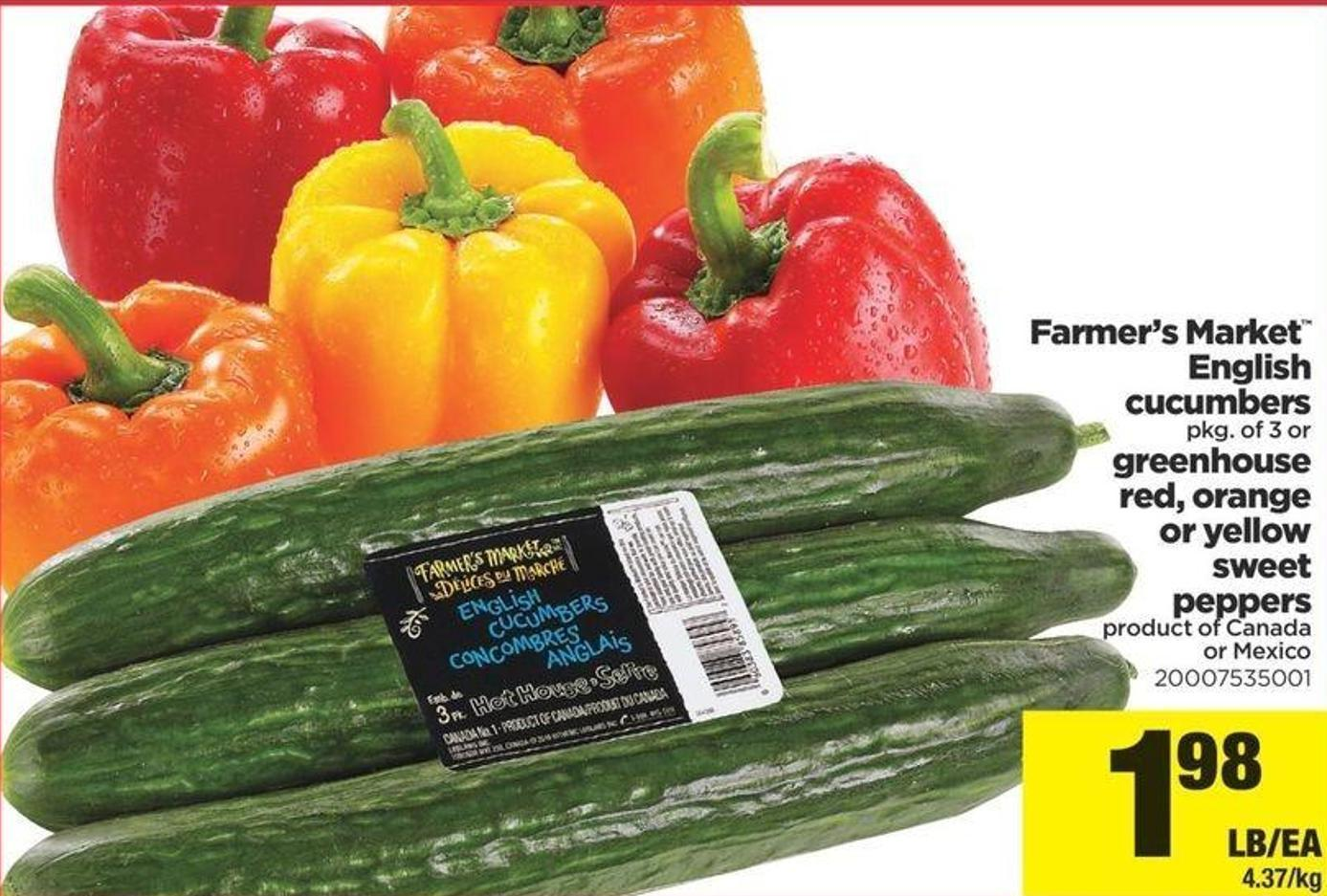 Farmer's Market English Cucumbers - Pkg Of 3 Or Greenhouse Red - Orange Or Yellow Sweet Peppers