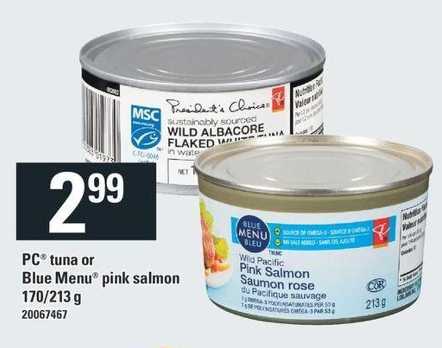 PC Tuna Or Blue Menu Pink Salmon - 170/213 G