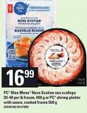 PC Blue Menu Nova Scotian Sea Scallops 20-40 Per Lb Frozen - 400 g or PC Shrimp Platter With Sauce - Cooked Frozen 568 g