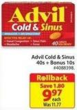 Advil Cold & Sinus 40s + Bonus 10s