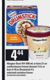 Häagen-dazs - 414-500 mL Or Bars - 3's Or Confectionery Frozen Dessert - 1.5 L Or Bars - 4-10 Or Drumstick - 4's