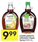 Compliments Organic Maple Syrup 500 ml