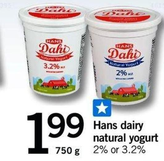 Hans Dairy Natural Yogurt - 750 G