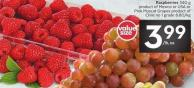 Raspberries 340 g Product of Mexico or USA or Pink Muscat Grapes Product Ofchile No 1 Grade