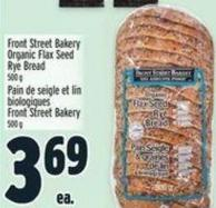 Front Street Bakery Organic Flax Seed Rye Bread 500 g