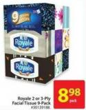 Royale 2 or 3-ply Facial Tissue 9-pack
