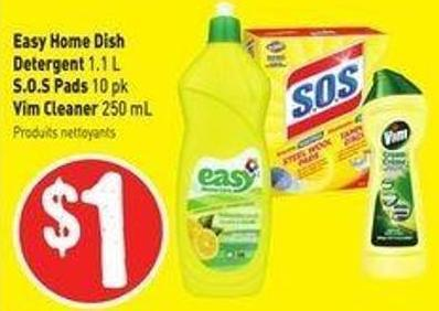 Easy Home Dish Detergent 1.1 L S.o.s Pads 10 Pk Vim Cleaner 250 mL