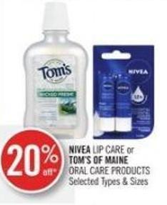 Nivea Lip Care or Tom's Of Maine Oral Care Products