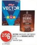Vector Chocolate Chip Energy Bars (4's) or Brownie Brittle (113g)