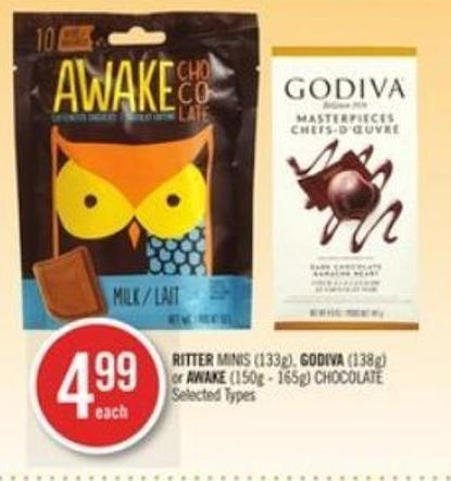 Ritter Minis (133g) - Godiva (138g) or Awake (150g - 165g) Chocolate