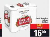 Stella Artois Beer Tall Cans 6x500 Ml
