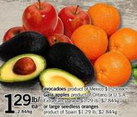 Avocadoes  - Gala Apples Or Large Seedless Oranges