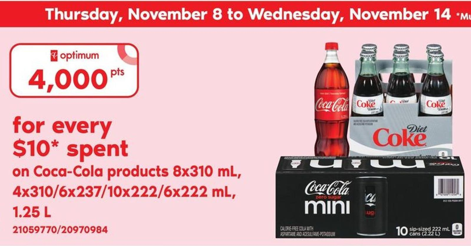 Coca-cola Products 8x310 mL - 4x310/6x237/10x222/6x222 mL - 1.25 L