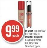 Revlon Colorstay Lip Colour or Rimmel London Lasting Finish Foundation