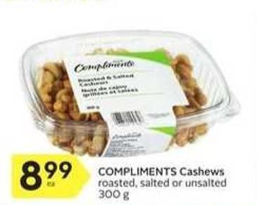 Compliments Cashews Roasted & Salted or Unsalted 300 g