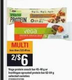 Vega Protein Snack Bar - 45-48 g or Ironvegan Sprouted Protein - Bar 62-64 g