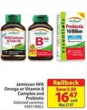 Jamieson Nfa Omega or Vitamin B Complex and Probiotic