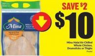 Mina Halal Air Chilled Whole Chicken - Drumsticks or Thighs