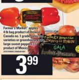 Farmer's Market Apples 4 Lb Bag Or Greenhouse Extra Large Sweet Peppers - 3's