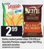 Kettle Cooked Potato Chips 170/220 G Or Sensible Portions Veggie Chips 141/142 G