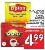 Tata - Lipton Yellow Label - Girnar Bombay Or Alwazah Tea 216's