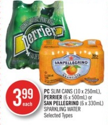 PC SLIM CANS (10 x 250mL), PERRIER (6 x 500mL) or SAN PELLEGRINO (6 x 330mL) SPARKLING WATER