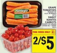 Grape Tomatoes Or Sweet Nantes Carrots