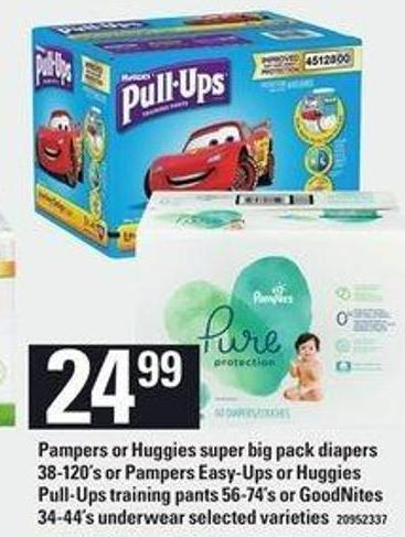 Pampers Or Huggies Super Big Pack Diapers - 38-120's Or Pampers Easy-ups Or Huggies Pull-ups Training Pants - 56-74's Or Goodnites - 34-44's Underwear