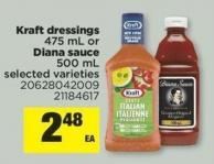 Kraft Dressings - 475 mL Or Diana Sauce - 500 mL