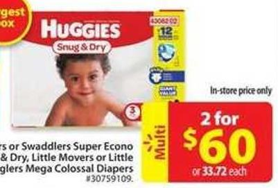 Huggies Snug & Dry - Little Mover or Little Snugglers Mega Colossal Diapers