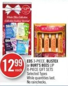 Eos 3-piece - Blistex or Burt's Bees Lip 4-piece Gift Sets