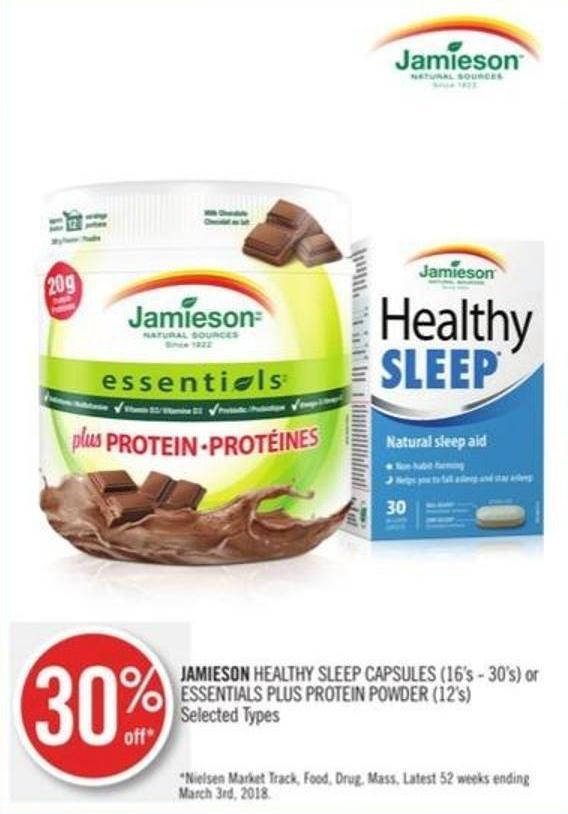 Jamieson Healthy Sleep Capsules (16's - 30's) or Essentials Plus Protein Powder (12's)