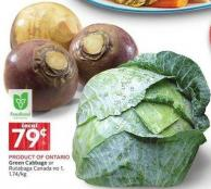 Green Cabbage or Rutabaga Canada No 1 - 1.74/kg